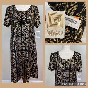 LULAROE Carly black and gold print dress NWT Med